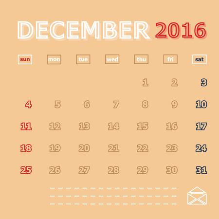 december: December 2016 monthly calendar template, Vector Illustration