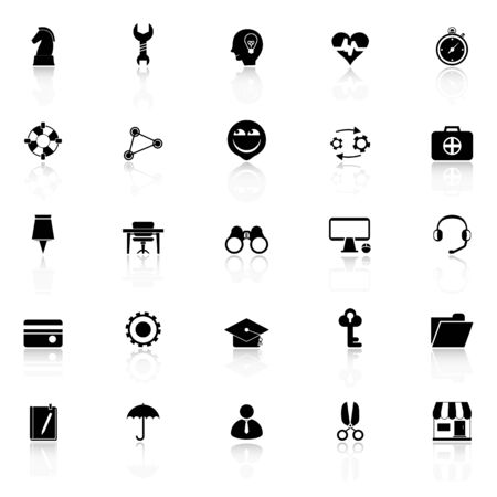 reflect: Human resource icons with reflect on white background, stock vector
