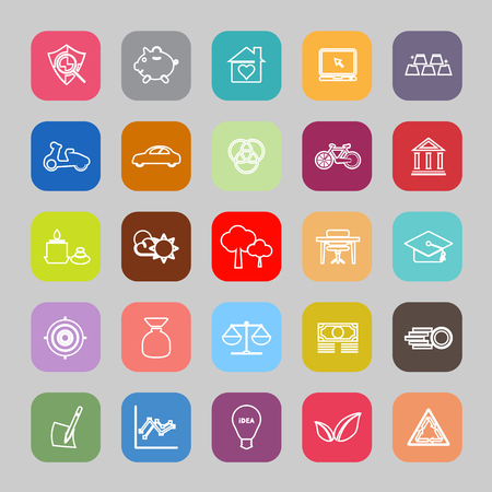 sufficiency: Sufficient economy line flat icons, stock vector Illustration