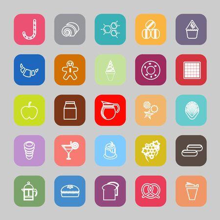 eclair: Sweet food line flat icons