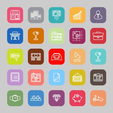valuation: Asset and property line flat icons Illustration