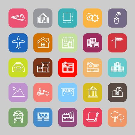 monorail: Real estate flat line icons