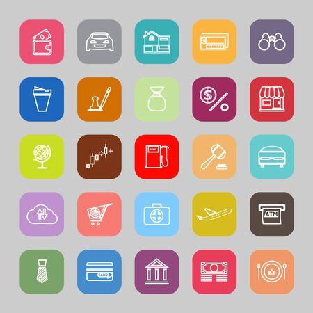 e wallet: E wallet line flat icons