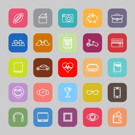 Iconos planos de línea de datos personales Ilustración de vector