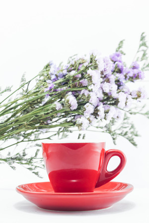static: Red cup of cofee and static flower Stock Photo