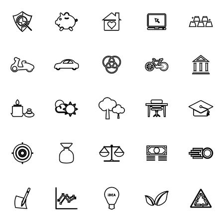 sufficient: Sufficient economy line icons on white background, stock vector Illustration