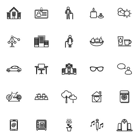 retirement community: Retirement community line icons on white background, stock vector