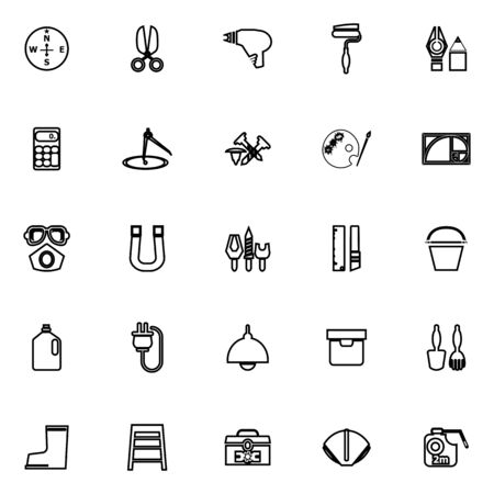 diy tool: DIY tool line icons on white background, stock vector