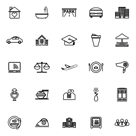 hospitality: Hospitality business line icons on white background, stock vector