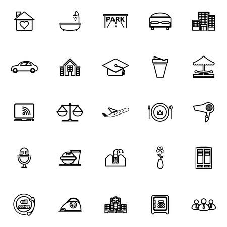 Hospitality business line iconen op een witte achtergrond, stock vector