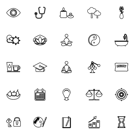 contemplation: Meditation line icons on white background, stock vector