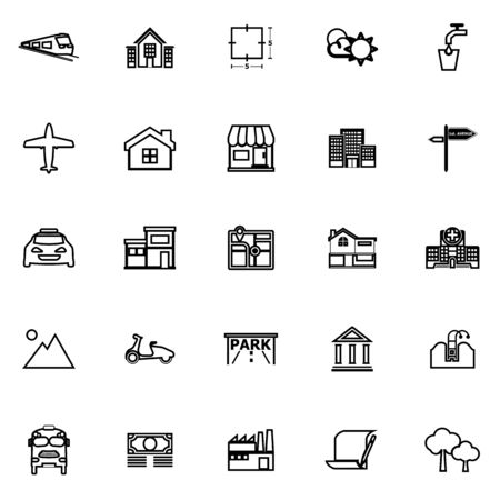 apartment buildings: Real estate line icons on white background, stock vector