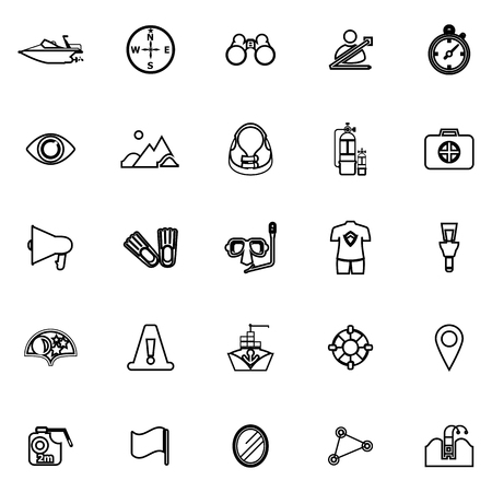 lifebouy: Waterway related line icons on white background, stock vector Illustration