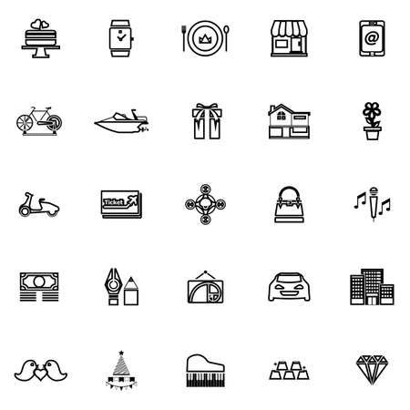 high society: Birthday gift line icons on white background, stock vector