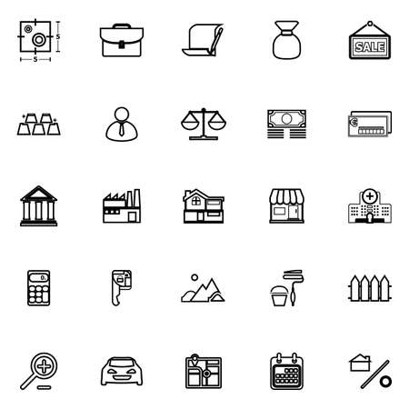 home loan: Mortgage and home loan line icons on white background, stock vector Illustration