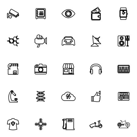 e wallet: Hitechnology line icons on white background, stock vector