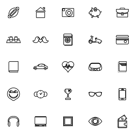 datos personales: iconos de líneas de datos personales en el fondo blanco, vector stock