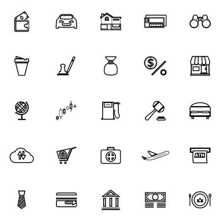e wallet: E wallet line icons on white background, stock vector Illustration