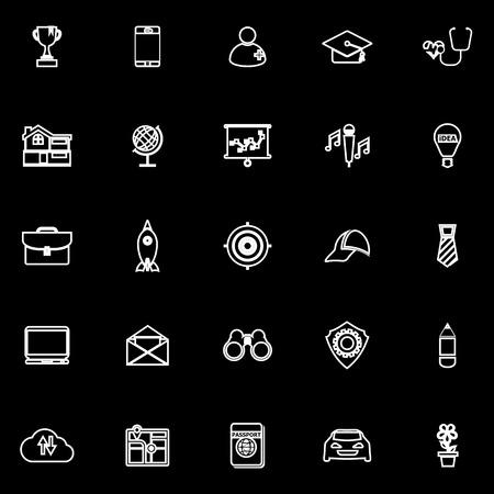 Job description line icons on black background, stock vector