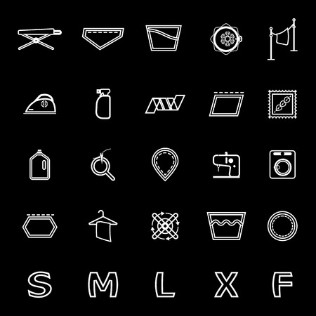 sew tags: Cloth care sign and symbol line icons on black, stock vector