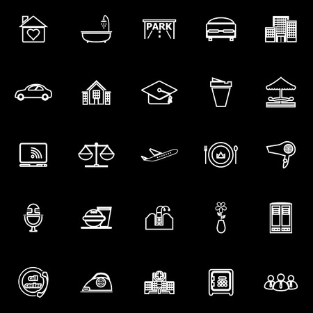 hospitality: Hospitality business line icons on black background, stock vector