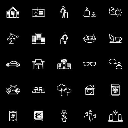 retirement community: Retirement community line icons on black background, stock vector