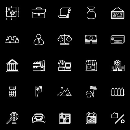 home loan: Mortgage and home loan line icons on black background, stock vector