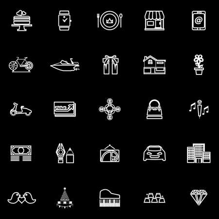 high society: Birthday gift line icons on black background, stock vector
