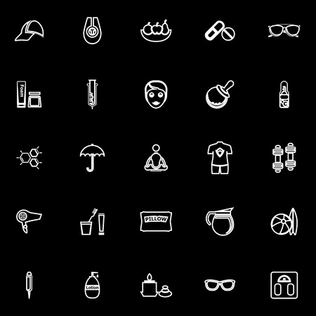 eye service: Facial and body treatment line icons on black background, stock vector