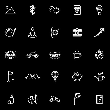 slow: Slow life activity line icons on black background, stock vector