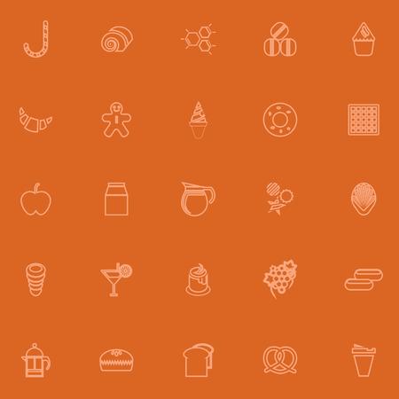 cheesecake: Sweet food orange line icons, stock vector Illustration