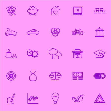 sufficient: Sufficient economy violet line icons, stock vector