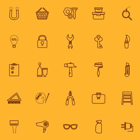 diy: DIY brown line icons, stock vector