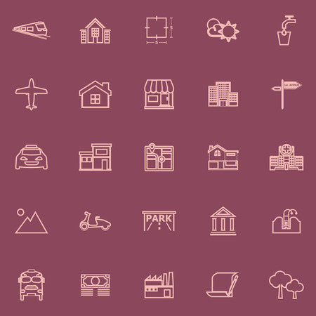 valuation: Real estate flat line pink color icons, stock vector