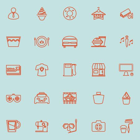 roomservice: Franchisee business line orange color icons, stock vector