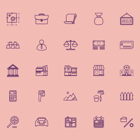 deed: Mortgage and home loan purple line icons, stock vector Illustration