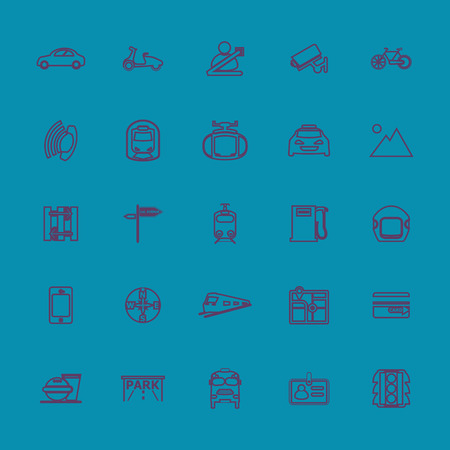 land transport: Land transport related line color icons, stock vector