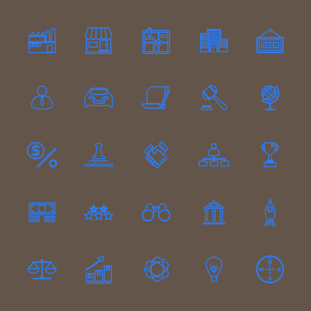 commerce and industry: Franchise line icons blue color, stock vector