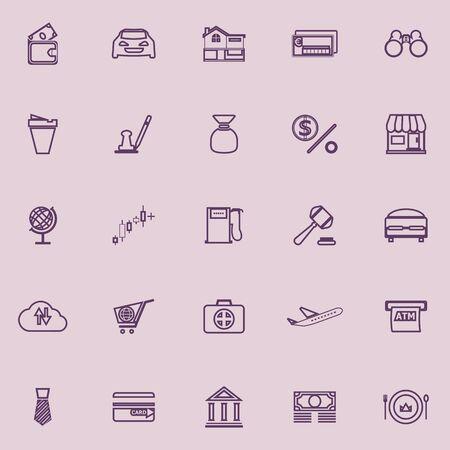 e wallet: E wallet line icons purple color, stock vector Illustration