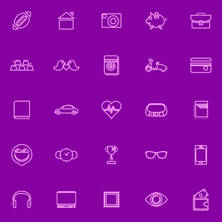 personal data: Personal data line icons pink color, stock vector Illustration