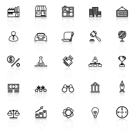 copyrights: Franchise line icons with reflect on white, stock vector