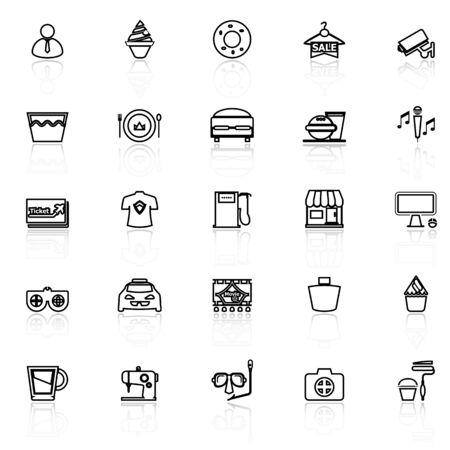 roomservice: Franchisee business line icons with reflect on white, stock vector