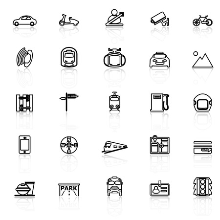 helmet seat: Land transport related line icons with reflect on white, stock vector
