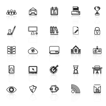 reflect: Business management line icons with reflect on white, stock vector