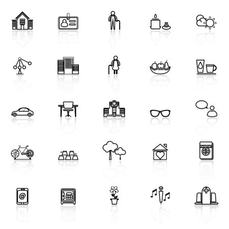 retirement community: Retirement community line icons with reflect on white, stock vector