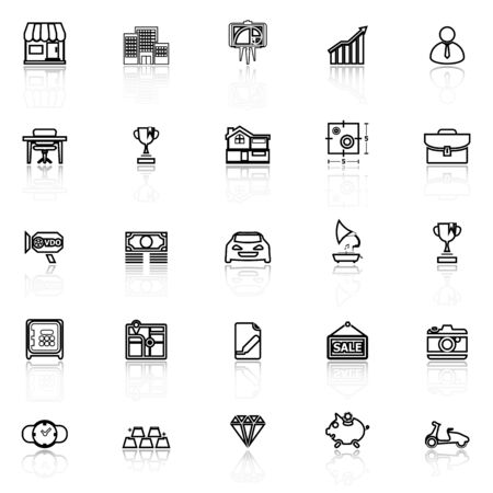 valuation: Asset and property line icons with reflect on white, stock vector Illustration