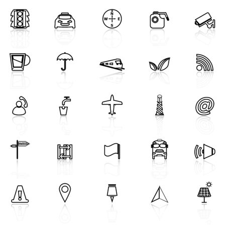 monorail: Map sign line icons with reflect on white, stock vector