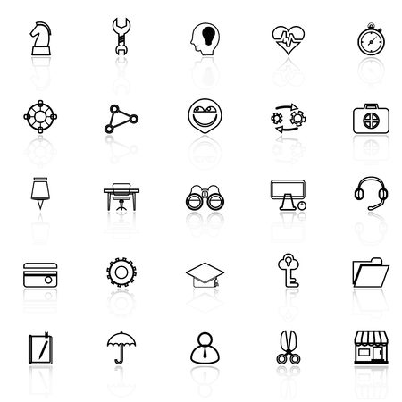 reflect: Human resource line icons with reflect on white, stock vector Illustration