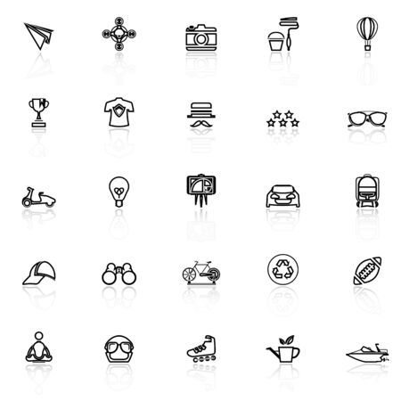 reflect: Hipster line icons with reflect on white, stock vector