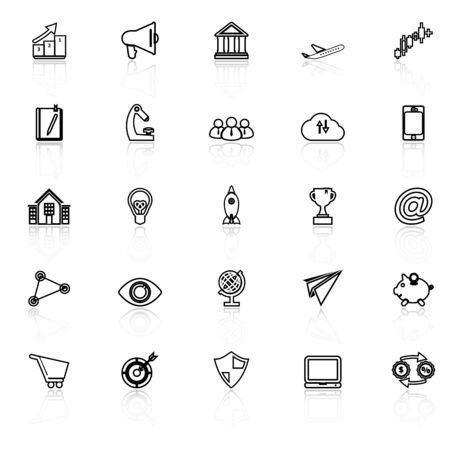 reflect: Startup business line icons with reflect on white, stock vector